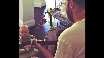 Country Star 'Blown Away' By Baby's Reaction To His Guitar Playing