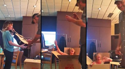 Watch This Human Jack-In-The-Box Prank Scare The Hell Out Of Blake Shelton