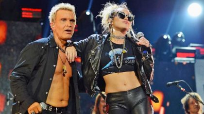 """Fans Baffled When Miley Cyrus Joins Billy Idol For Hard-Rocking """"Rebel Yell"""""""