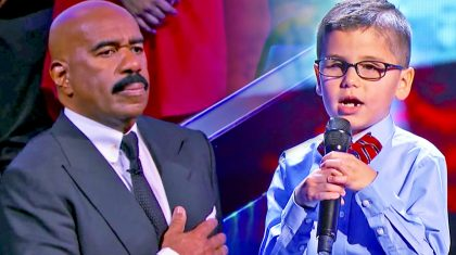 Sweet Little Boy Sings National Anthem For An Emotional Steve Harvey