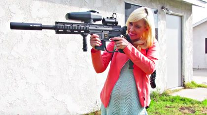 Pregnant Wife Shoots Paintball Gun At Husband In Hysterical Gender Reveal