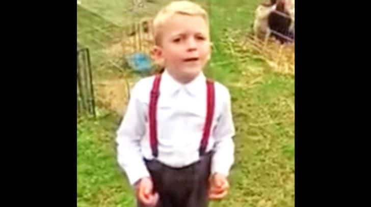 Cute Suspender-Wearing Cowboy Proudly Sings Kenny Rogers' 'The Gambler' | Country Music Nation