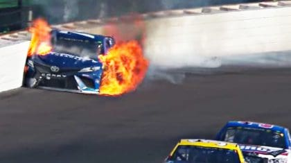 Stock Car Bursts Into Flames After Violent NASCAR Wreck