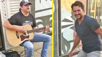 Luke Bryan Comically Busts A Move While Rhett Akins Busks On Sidewalk