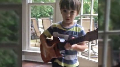 Vince Gill's Adorable Grandson Passionately Jams Out On Guitar