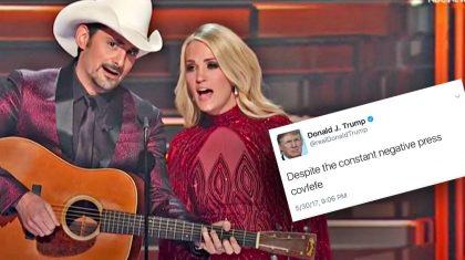 Carrie Underwood & Brad Paisley Poke Fun At Trump's Twitter Addiction In CMA Opener