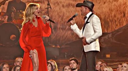 Faith Hill Shows Off Figure In Fiery Red Dress During CMA Duet