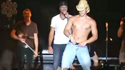 Luke Bryan Shows Up Shirtless Fan During Sexy Concert Dance Off